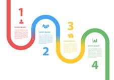 Infographic έννοια σχεδιαγράμματος διαγραμμάτων διαδικασίας ακολουθίας τεσσάρων βημάτων Στοκ Εικόνες