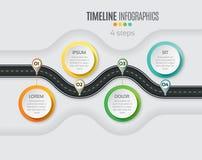 Infographic έννοια υπόδειξης ως προς το χρόνο 4 βημάτων χαρτών ναυσιπλοΐας Άνεμος roa ελεύθερη απεικόνιση δικαιώματος