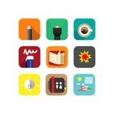 Infographic εκπαίδευση εξοπλισμού λογότυπων εικονιδίων για τη χρησιμοποίηση της εφαρμογής ελεύθερη απεικόνιση δικαιώματος