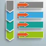 Infographic 4 εμβλήματα βελών βημάτων διανυσματική απεικόνιση
