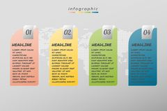 Infographic επιχείρηση προτύπων σχεδίου τεσσάρων βημάτων, απεικόνιση απεικόνιση αποθεμάτων