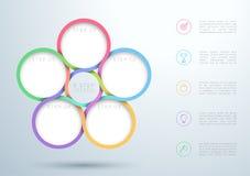 Infographic ζωηρόχρωμο διάγραμμα κύκλων 5 βημάτων αναμειγνύοντας ελεύθερη απεικόνιση δικαιώματος