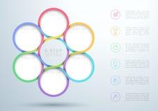 Infographic ζωηρόχρωμο διάγραμμα κύκλων 6 βημάτων αναμειγνύοντας ελεύθερη απεικόνιση δικαιώματος