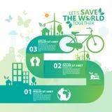 Infographic διάνυσμα σχεδίου έννοιας περιβάλλοντος Στοκ Εικόνες