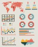 Infographic διανυσματική απεικόνιση λεπτομέρειας Παγκόσμιος χάρτης και γραφική παράσταση πληροφοριών Στοκ Φωτογραφίες
