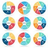 Infographic (μέρος τέσσερα, μέρος πέντε και μέρος έξι) διανυσματικό καθορισμένο σχέδιο κύκλων απεικόνιση αποθεμάτων