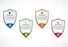 Infographic με την ασπίδα ασφάλειας Infographics για το έμβλημα επιχειρησιακών παρουσιάσεων ή πληροφοριών διανυσματική απεικόνιση