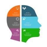 Infographic με το χρωματισμένο κεφάλι στο άσπρο eps 10 υποβάθρου vec Στοκ Φωτογραφίες