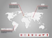Infographic - παγκόσμιος χάρτης με τα διάφορα εικονίδια Στοκ φωτογραφία με δικαίωμα ελεύθερης χρήσης