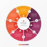 Infographic πρότυπο διαγραμμάτων κύκλων με 7 επιλογές διανυσματική απεικόνιση