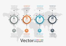 Infographic πρότυπο διαγραμμάτων υπόδειξης ως προς το χρόνο με 4 επιλογές για τις παρουσιάσεις, διαφήμιση, σχεδιαγράμματα, ετήσια Στοκ Φωτογραφία