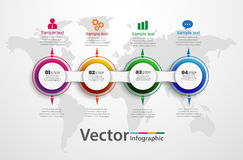Infographic πρότυπο διαγραμμάτων υπόδειξης ως προς το χρόνο με 4 επιλογές για τις παρουσιάσεις, διαφήμιση, σχεδιαγράμματα, ετήσια Στοκ Εικόνα