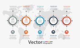 Infographic πρότυπο διαγραμμάτων υπόδειξης ως προς το χρόνο με 5 επιλογές για τις παρουσιάσεις, διαφήμιση, σχεδιαγράμματα, ετήσια Στοκ Εικόνες