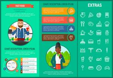 Infographic πρότυπο και στοιχεία γρήγορου φαγητού Στοκ εικόνες με δικαίωμα ελεύθερης χρήσης