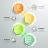 Infographic πρότυπο 4 κύκλων σχεδίου βήματα για την επιχειρησιακή έννοια Στοκ Εικόνες