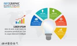 Infographic πρότυπο λαμπών φωτός για τις έννοιες επιχειρησιακής ιδέας με 5 βήματα επίσης corel σύρετε το διάνυσμα απεικόνισης απεικόνιση αποθεμάτων