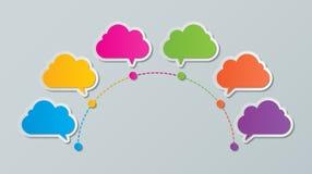 Infographic πρότυπο σύννεφων υπόδειξης ως προς το χρόνο Στοκ φωτογραφίες με δικαίωμα ελεύθερης χρήσης