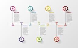 Infographic στοιχεία υπόδειξης ως προς το χρόνο Διάνυσμα με τα εικονίδια Στοκ Φωτογραφία