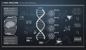 Infographic στοιχεία HUD με τη δομή DNA Φουτουριστικό ενδιάμεσο με τον χρήστη Αφηρημένος εικονικός γραφικός Ελεύθερη απεικόνιση δικαιώματος