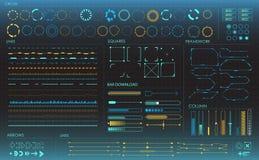 infographic σύνολο στοιχείων Head-up στοιχεία επίδειξης για τον Ιστό και app Φουτουριστικό ενδιάμεσο με τον χρήστη Εικονικός γραφ Στοκ Εικόνες