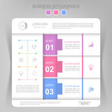 Infographic του βήματος, επίπεδο σχέδιο του διανύσματος επιχειρησιακών εικονιδίων Στοκ εικόνα με δικαίωμα ελεύθερης χρήσης
