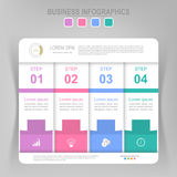 Infographic του βήματος, επίπεδο σχέδιο του διανύσματος επιχειρησιακών εικονιδίων Στοκ Εικόνες