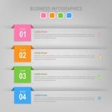 Infographic του βήματος, επίπεδο σχέδιο του διανύσματος επιχειρησιακών εικονιδίων Στοκ Φωτογραφίες
