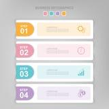 Infographic του βήματος, επίπεδο σχέδιο του διανύσματος επιχειρησιακών εικονιδίων Στοκ Εικόνα