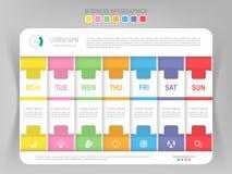 Infographic του εβδομαδιαίου βήματος, επίπεδο διάνυσμα επιχειρησιακών εικονιδίων σχεδίου Στοκ Φωτογραφίες