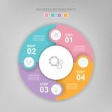 Infographic του στοιχείου κύκλων, επίπεδο σχέδιο του διανύσματος επιχειρησιακών εικονιδίων Στοκ Εικόνα