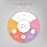 Infographic του στοιχείου κύκλων, επίπεδο σχέδιο του διανύσματος επιχειρησιακών εικονιδίων Στοκ εικόνες με δικαίωμα ελεύθερης χρήσης