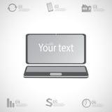 Infographic τρισδιάστατος φορητός προσωπικός υπολογιστής σύγχρονου σχεδίου με απεικόνιση αποθεμάτων