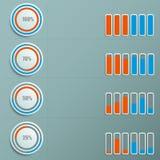 Infographic των κύκλων με το ενδιαφέρον και τους δείκτες να μετρηθούν αυτοί και οι λουρίδες απεικόνιση αποθεμάτων
