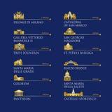 Infographic των συμβόλων της Ιταλίας, ορόσημα στο χρυσό χρώμα επίσης corel σύρετε το διάνυσμα απεικόνισης Ρώμη, Βενετία, Μιλάνο,  Στοκ φωτογραφία με δικαίωμα ελεύθερης χρήσης