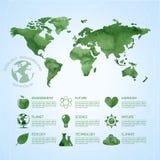 Infographic υπόβαθρο οικολογίας Watercolor Στοκ Φωτογραφίες