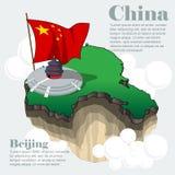 Infographic χάρτης χωρών της Κίνας σε τρισδιάστατο Στοκ εικόνα με δικαίωμα ελεύθερης χρήσης