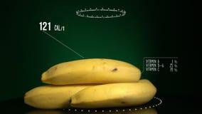 Infographic банана с витаминами, минералами microelements Энергия, калория и компонент сток-видео
