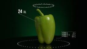Infographic зеленого цвета болгарского перца с витаминами, минералами microelements Энергия, калория и компонент видеоматериал