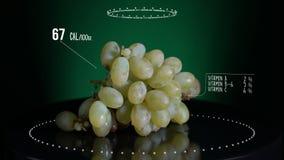 Infographic зеленой виноградины с витаминами, минералами microelements Энергия, калория и компонент сток-видео