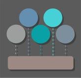 Infographic, диаграмма, участки, 5 кругов, один прямоугольник, цвет, плоский иллюстрация штока