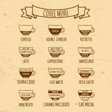 Infographic меню Coffe нарисованное рукой Стоковые Фото