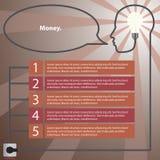 infographic принципиальная схема Человеческая голова с идеей - электрическая лампочка Стоковые Изображения