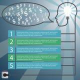 infographic принципиальная схема Человеческая голова с идеей - Стоковое Изображение RF