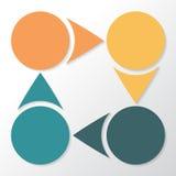 Infographic 4 части, части, разделы, варианты или шага лавр граници покидает вектор шаблона тесемок дуба Стоковое Изображение