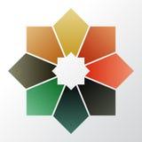 Infographic 8 части, части, разделы, варианты или шагов лавр граници покидает вектор шаблона тесемок дуба Стоковое Фото