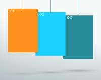 Infographic 3五颜六色的空白的垂悬的正文框传染媒介 免版税库存照片