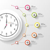 Infographic 企业时钟 与象的五颜六色的圈子 向量 免版税库存照片
