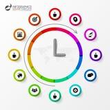 Infographic 企业时钟 与象的五颜六色的圈子 向量 免版税图库摄影