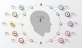 Infographic 企业头 与象的五颜六色的圈子 向量 库存照片