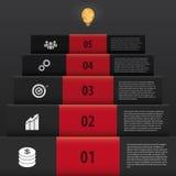 Infographic黑色台阶样式 提高事务 图库摄影